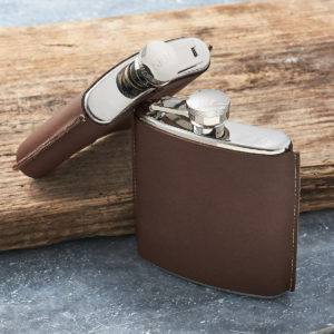 Personalised Hand Stitched Leather Hip Flask
