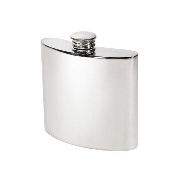 Personalised 4 oz Plain Pewter Kidney Hip Flask