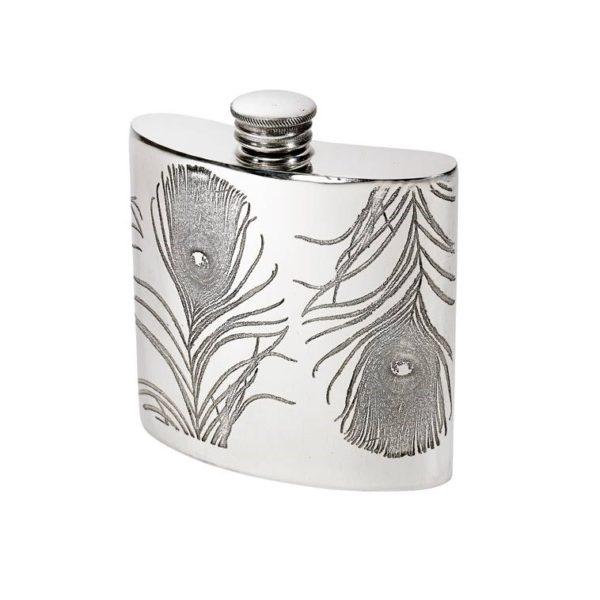 Personalised 4 oz Peacock Pewter Kidney Hip Flask