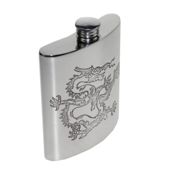Personalised 6 oz Chinese Dragon Pewter Kidney Hip Flask