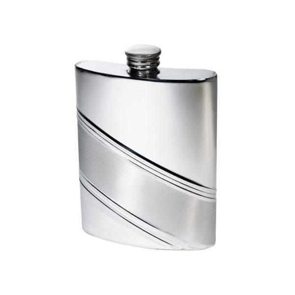 Personalised 6 oz Diagonal Stripe Pewter Kidney Hip Flask
