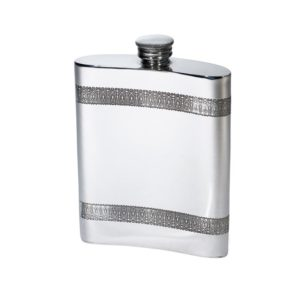 Personalised 6 oz Gothic Bands Pewter Kidney Hip Flask