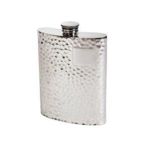 Personalised 6 oz Hammered Pewter Kidney Hip Flask