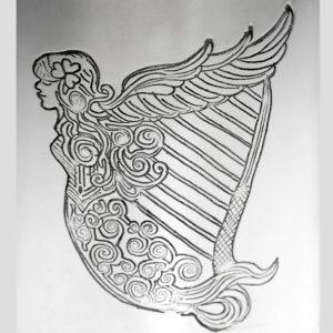 Personalised 6 oz Irish Harp Pewter Kidney Hip Flask