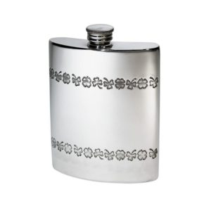 Personalised 6 oz Shamrock Pewter Kidney Hip Flask