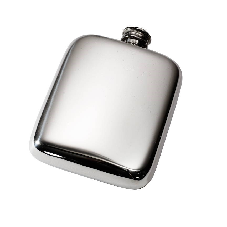 Personalised 4 oz Plain Pewter Pocket Hip Flask