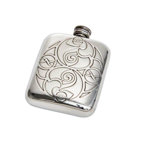 Personalised Celtic Spirals 4 oz Pewter Pocket Hip Flask