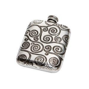Personalised 4 oz Tree of Life Pewter Pocket Flask