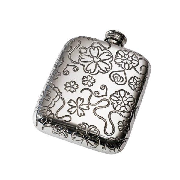 Yorkshire Rose 4 oz Pewter Pocket Hip Flask