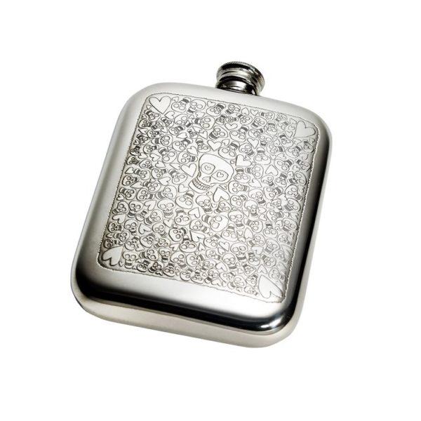 Personalised 6 oz Love Skull Pewter Pocket Hip Flask