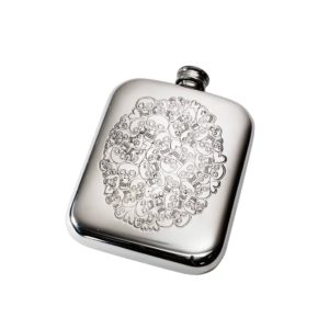Personalised 6 oz Skull Heart Cluster Pewter Hip Flask