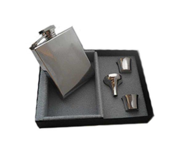 Q-bic Engraved Hip Flask Presentation Set with Free Engraving