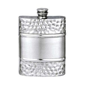 Hammered Band Engraved Hip Flask with Free Engraving