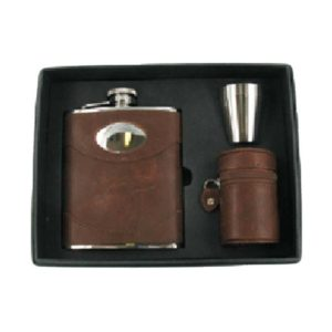 Brown Leather Engraved Hip Flask Gift Set with Free Engraving