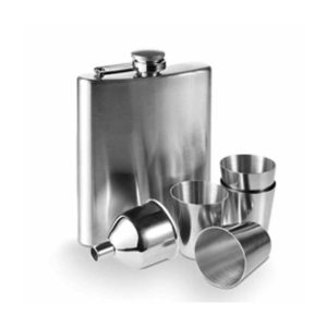 Personalised Engraved Hip Flask kit with funnel and four cups in satin finish Stainless Steel with Free Engraving