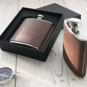 Leather Hip Flask - Standing Seam Personalised Flask 2