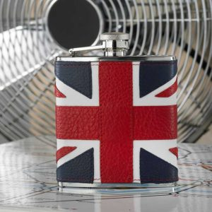 Luxurious Leather Union Jack Hip Flask with presentation gift box