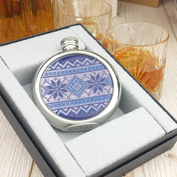 Personalised Fair Isle Christmas Hip Flask with Presentation Box