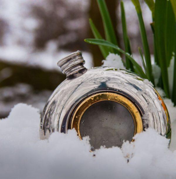 Personalised 6 oz Round Brass Porthole Pewter Hip Flask
