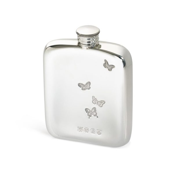 Personalised 4 oz Butterfly Pewter Pocket Hip Flask