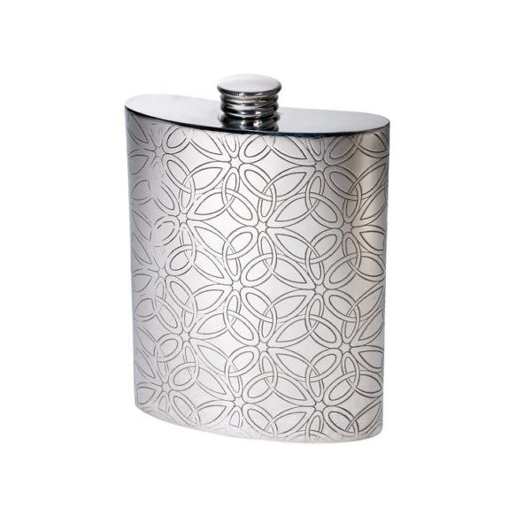 Personalised Triquetra 6 oz Pewter Kidney Hip Flask