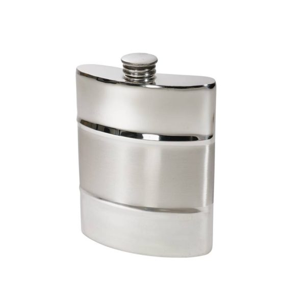 The Personalisation Part Satin 6 oz Pewter Kidney Hip Flask